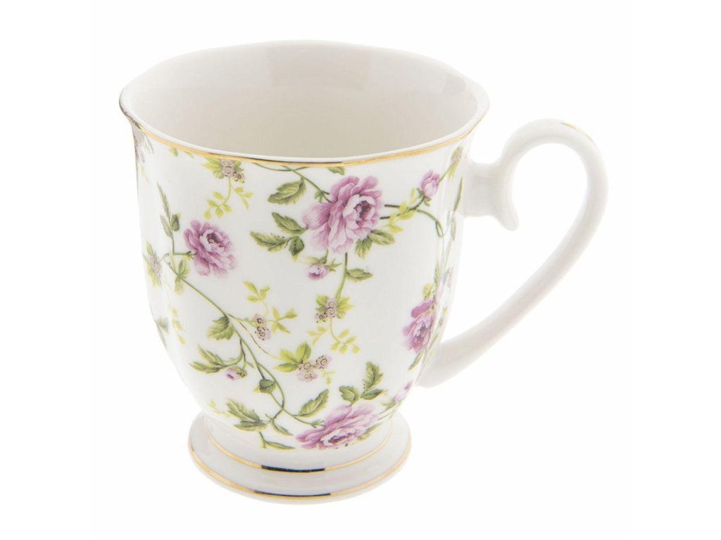 Clayre & Eef - Porcelánový hrníček s pnoucí kvetoucí kytičkou - 11*8*9 cm