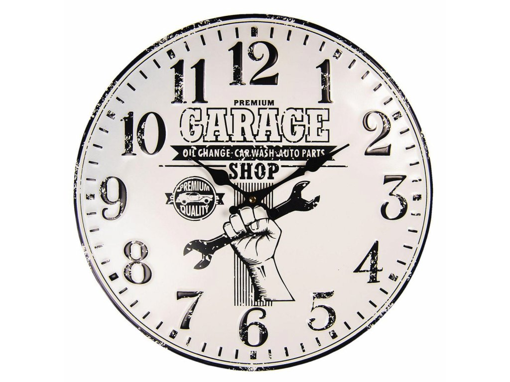 Clayre & Eef - Nástěnné hodiny GARAGE - Ø 40 cm / 1*AA
