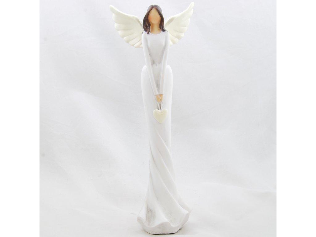 Figurka anděla v bílých šatech se srdíčkem / 31*11,5 cm/