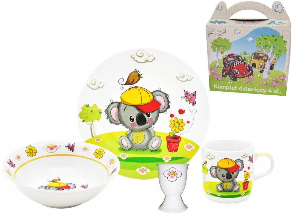 Dětská jídelní souprava - 4díl.KOALA, děts.jídel., porcelán