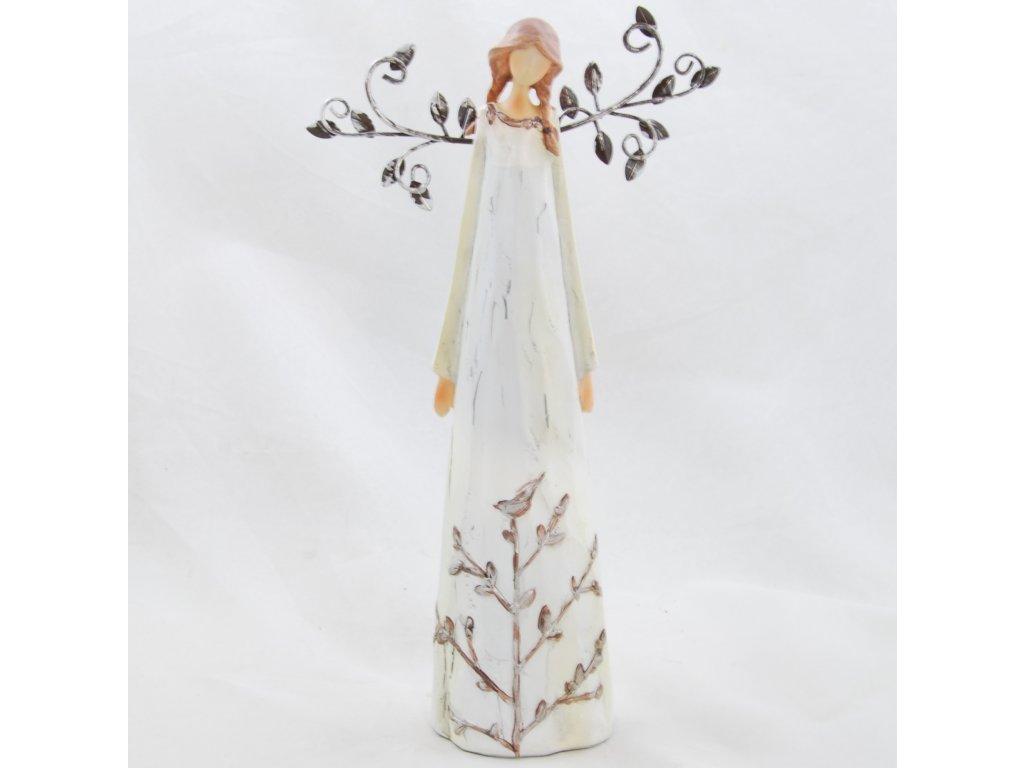 Figurka anděla v krémových šatech s kovovými křídly