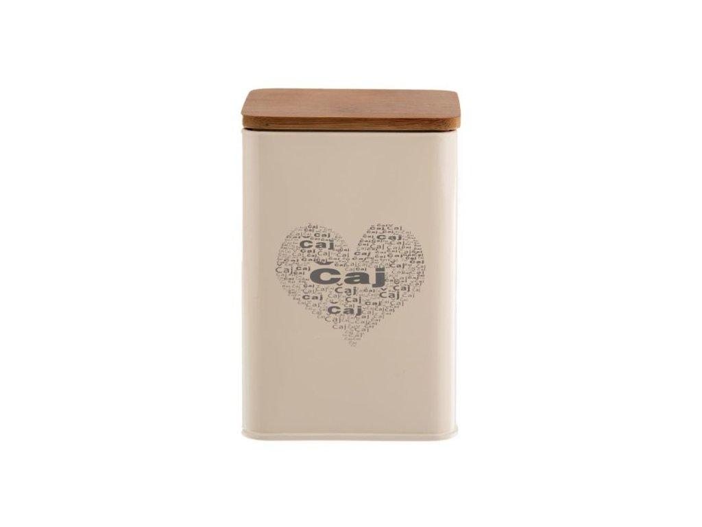 Plechová dóza na čaj - plech/dřevo ČAJ-SRDCE, 9,5x 9,5x14cm