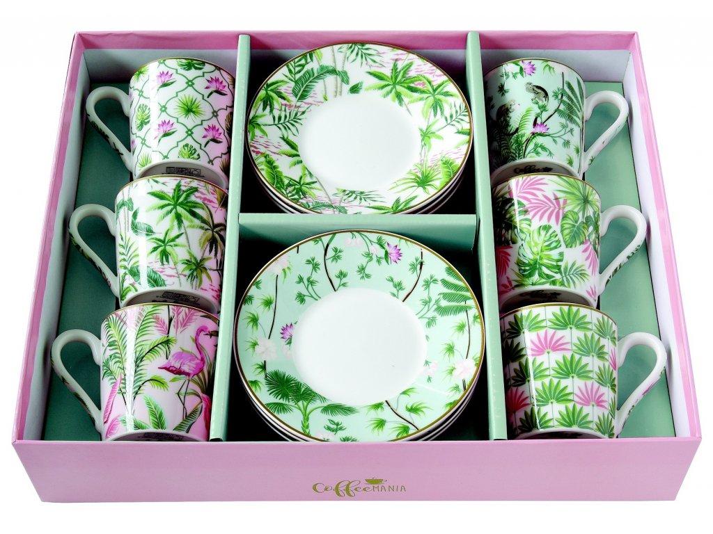 Easy Life - Porcelánové šálky a podšálky na kávu Wild Tropical - 6*100 ml