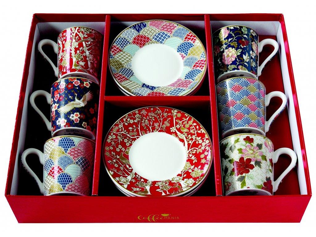 Easy Life - Porcelánové šálky a podšálky na kávu Okinawa - 6*100 ml