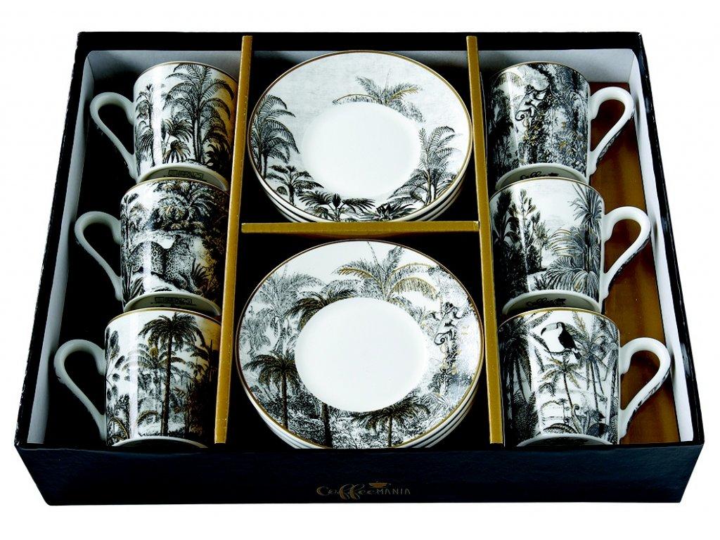 Easy Life - Porcelánové šálky a podšálky na kávu Retro Jungle - 6*100 ml