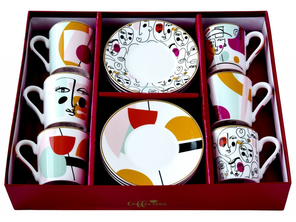 Easy Life - Porcelánové šálky a podšálky na kávu Modernism - 6*100 ml