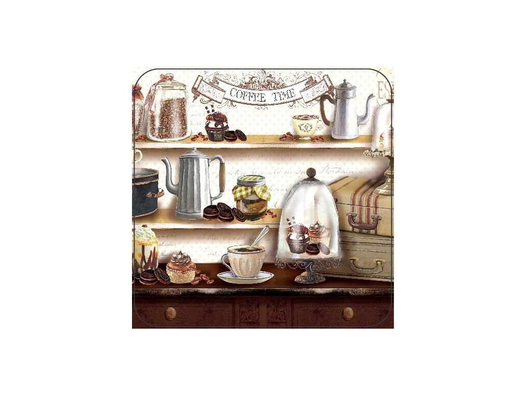 Korkové prostírání pod skleničky COFFEE TIME, malé - /10,5*10,5 cm/ - 4 ks