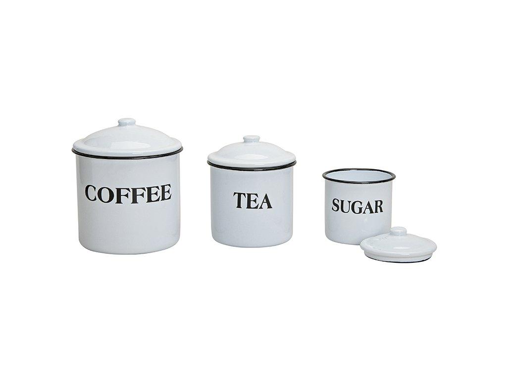 G.WURM - Sada tří smaltových dóz COFFEE TEA SUGAR - 1000/600/300 ml