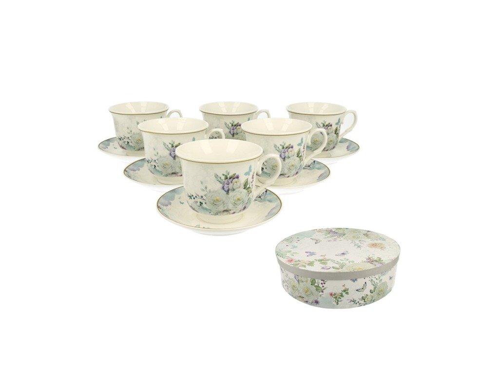 Easy Life - SARA - Sada 6ks porcelánový šálek s podšálkem v boxu - 6*250ml
