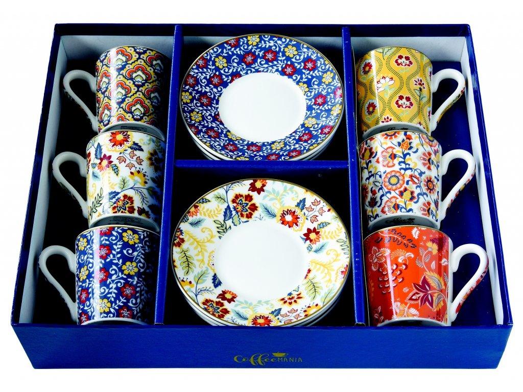 Easy Life - Porcelánové šálky a podšálky na kávu Paisley Abundance - 6*100 ml