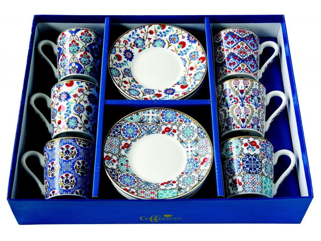 Easy Life - Porcelánové šálky a podšálky na kávu Iznik - 6*100 ml