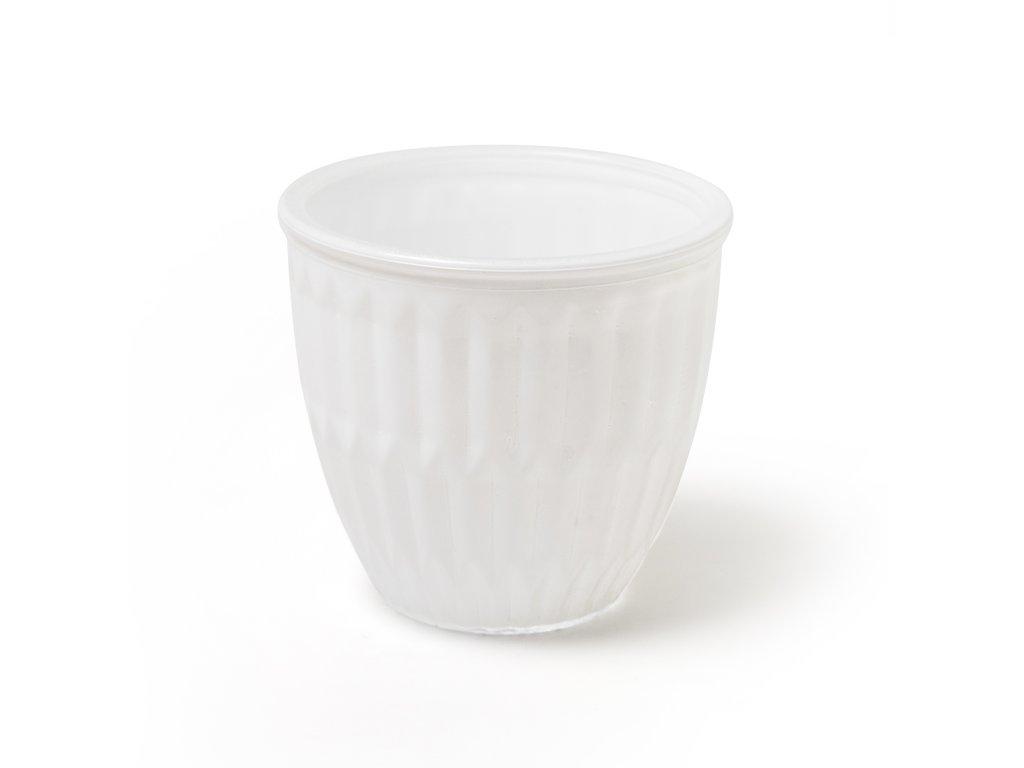 Bílá skleněná váza /11*11*10 cm/
