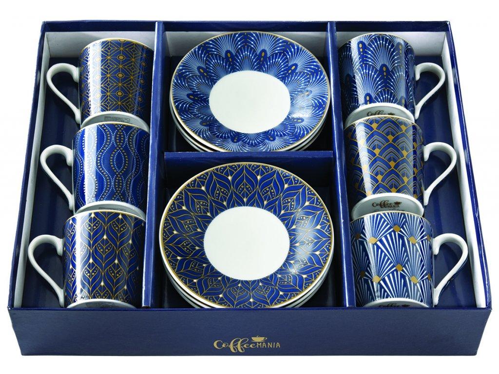 Easy Life - Porcelánové šálky a podšálky na kávu Art Deco - 6*90 ml