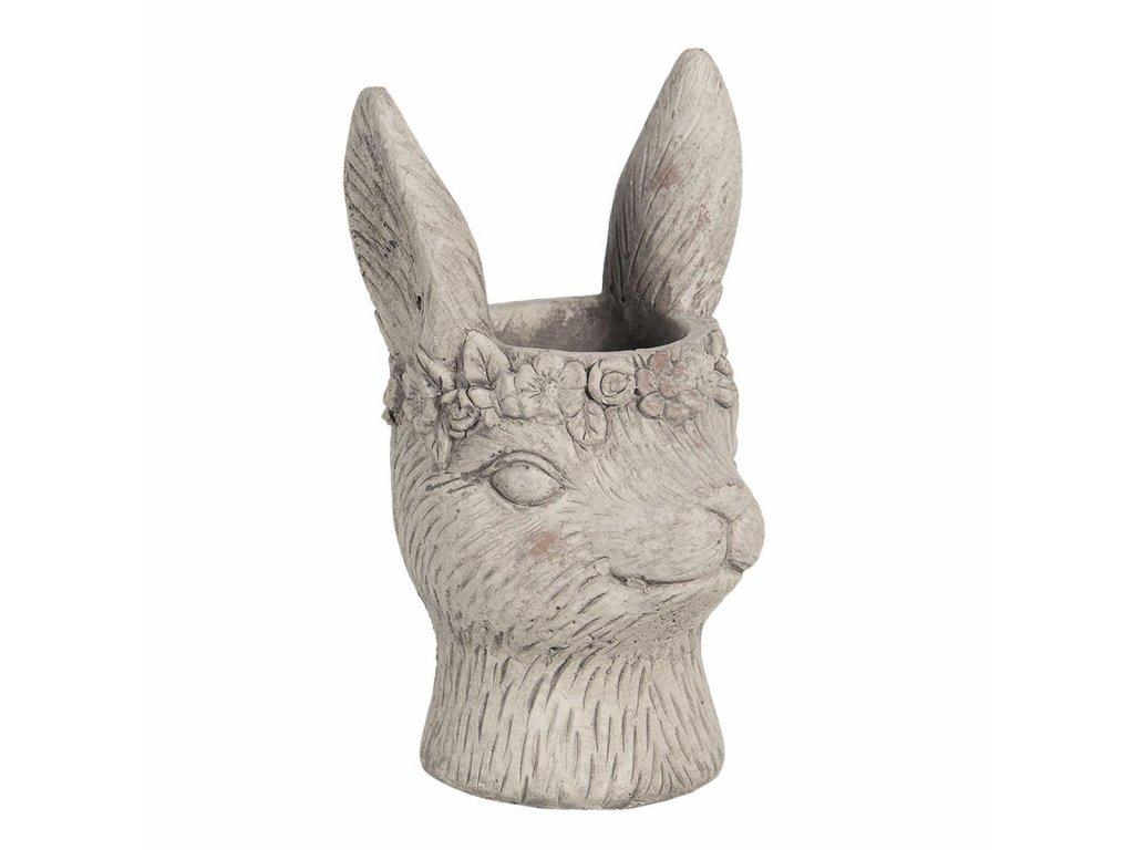 Clayre & Eef - Kameninový květináč RABBIT  menší ,,králík ,, - 13*13*21 cm