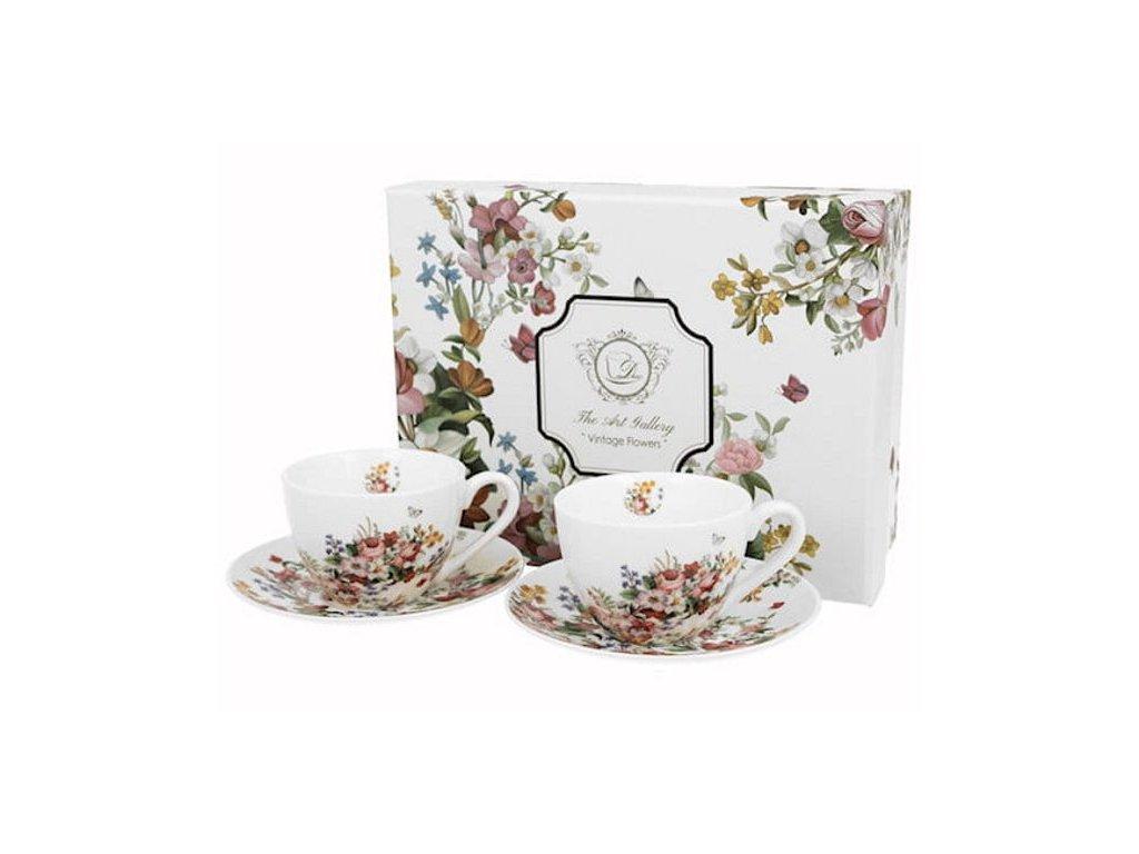 VINTAGE FLOWERS-WHITE - Sada 2ks šálek s podšálkem 280ml porcelán v boxu