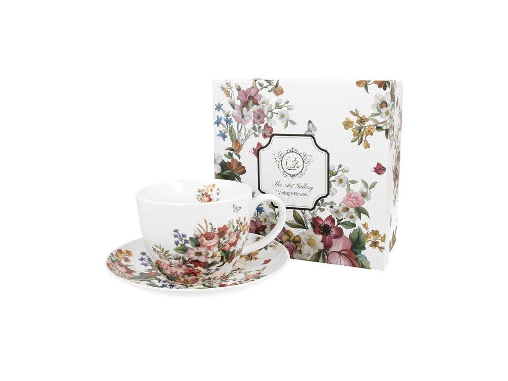 Porcelánový šálek s podšálkem VINTAGE FLOWERS-WHITE v dárkové krabičce - 350 ml