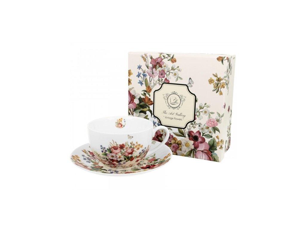 Porcelánový šálek s podšálkem VINTAGE FLOWERS-WHITE v dárkové krabičce - 280 ml