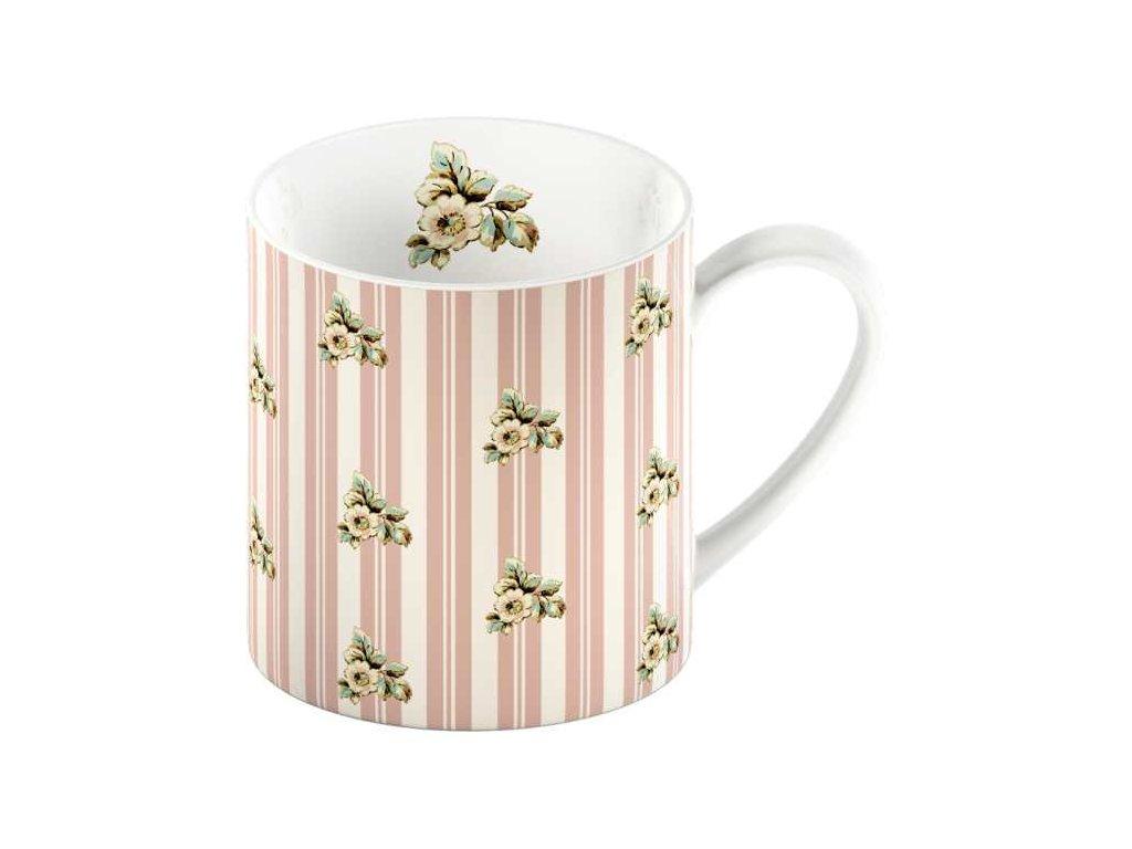 Porcelánový hrnek Pink Stripe Cottage Flower