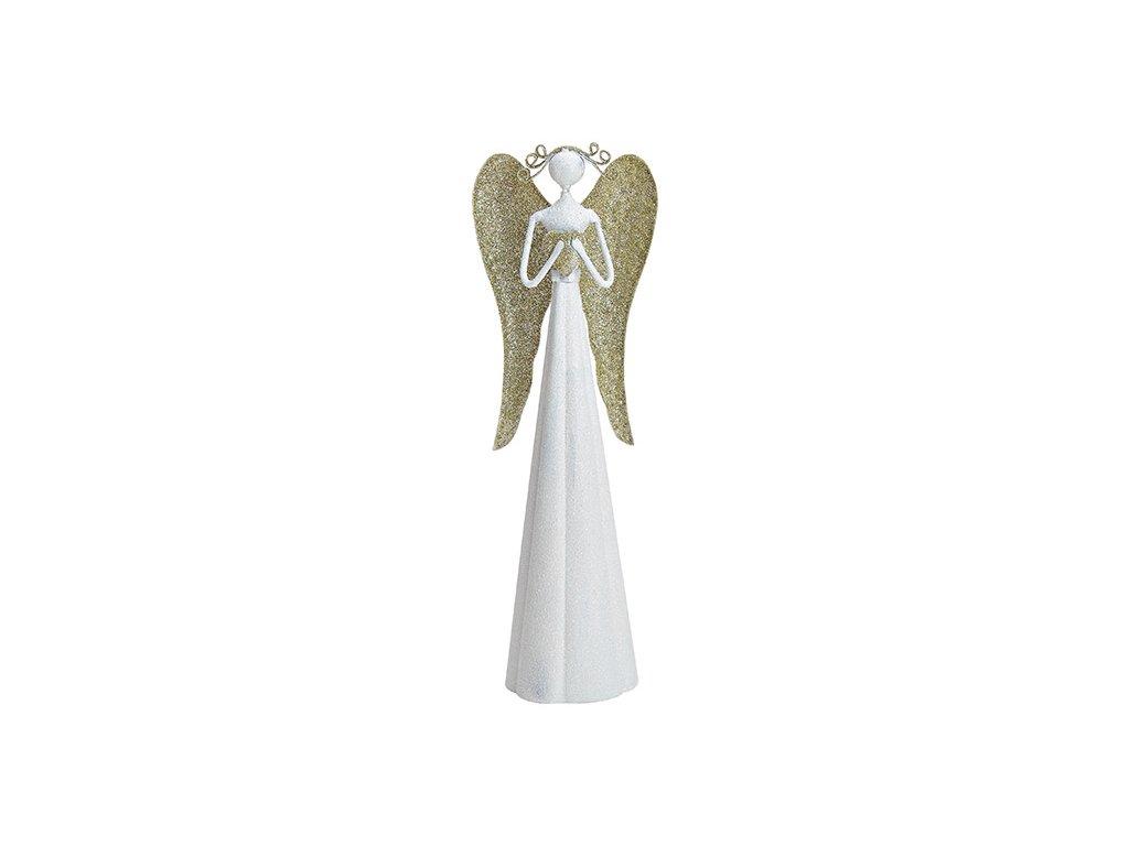 Bílý kovový anděl s křídly ve zlatavé barvě /9*30*7 cm/