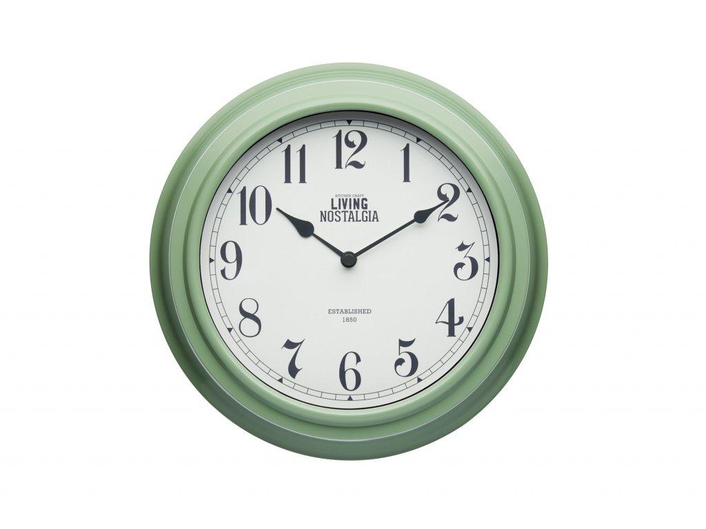 Kitchen Craft - Nástěnné hodiny Living Nostalgia zelené /25,5*25,5 cm/
