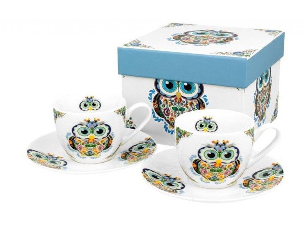 Porcelánové šálky s podšálkem na espresso z kolekce SOVA v dárkové krabičce - 2*110 ml