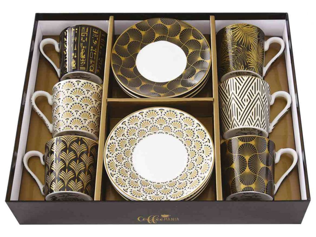 Easy Life - Porcelánové šálky a podšálky na kávu Egyptology - 6*100 ml