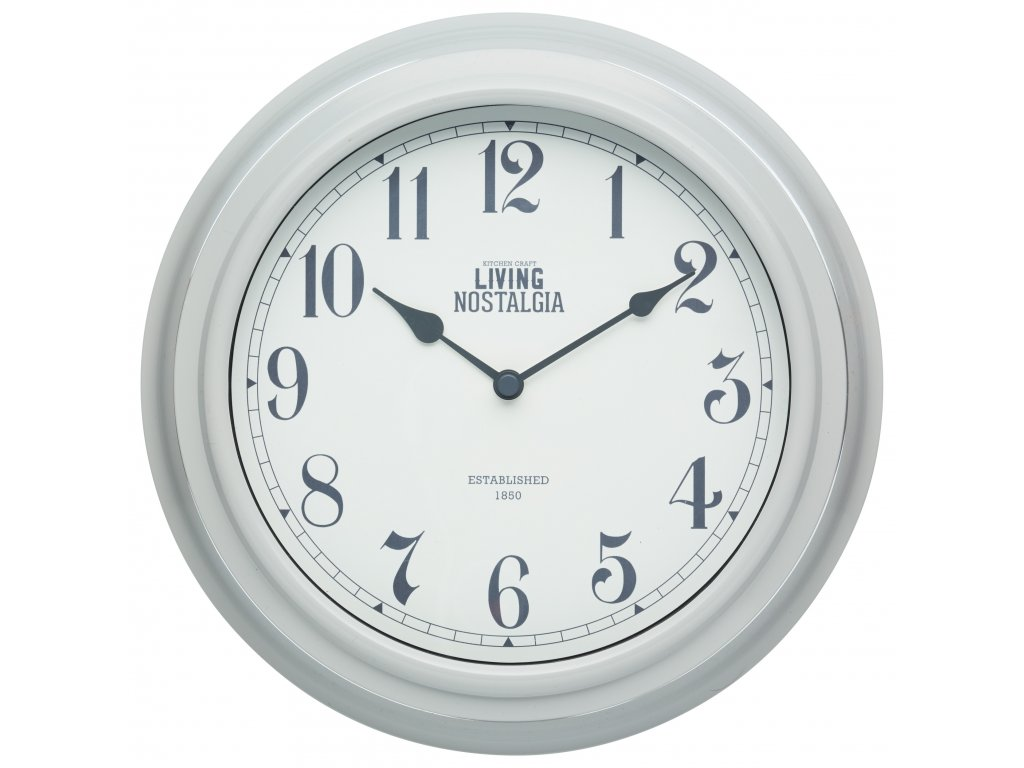 Kitchen Craft - Nástěnné hodiny Living Nostalgia šedé /25,5*25,5 cm/