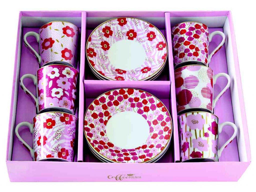 Easy Life - Porcelánové šálky a podšálky na kávu Floral Power Pink - 6*100 ml