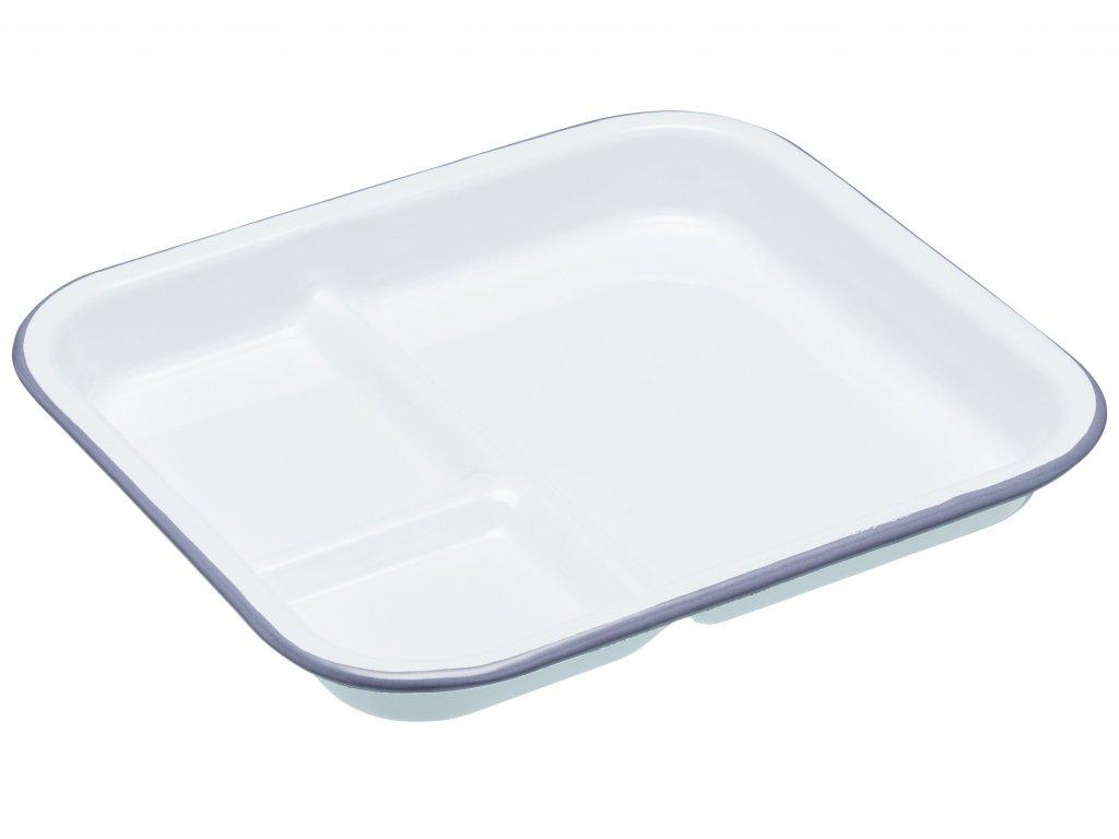 Kitchen Craft - Smaltovaný kempingový talíř Living Nostalgia bílý /25*22 cm/