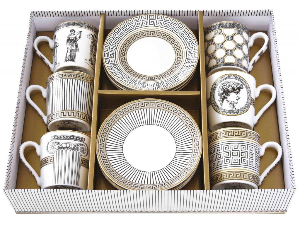 Easy Life - Porcelánové šálky a podšálky na kávu Palladium - 6*100 ml