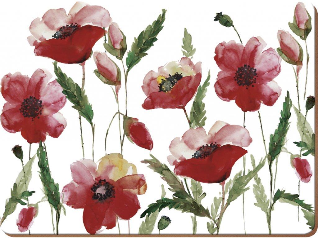 Creative Tops - Korkové prostírání Watercolour Poppies velké /40*29 cm/ - Sada obsahuje 4 kusy