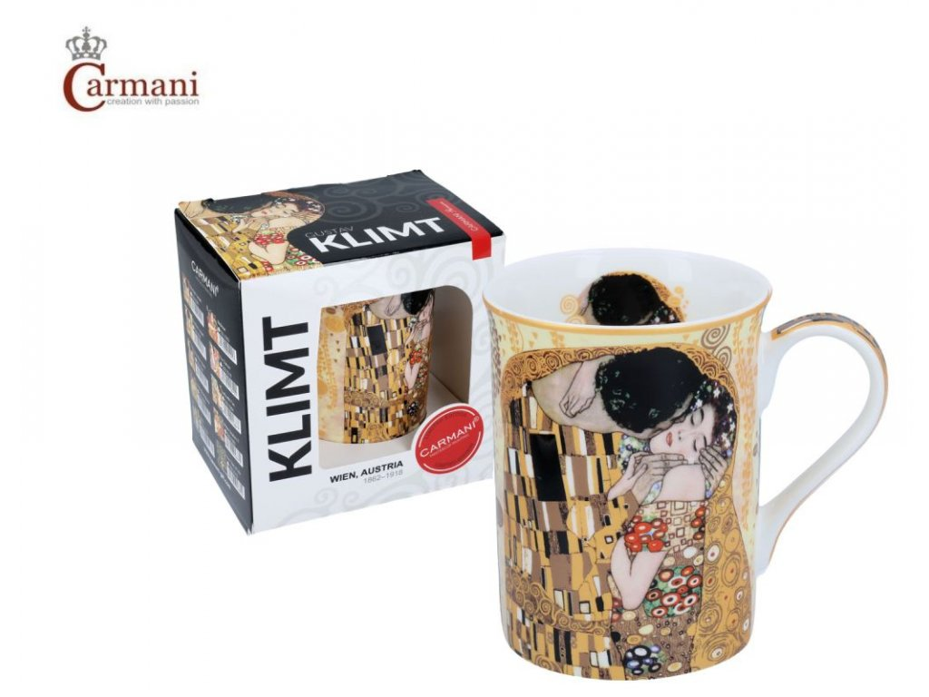 """Carmani - Porcelánový hrnek Classic Klimt """"Polibek"""" I v dárkové krabičce - 420 ml"""