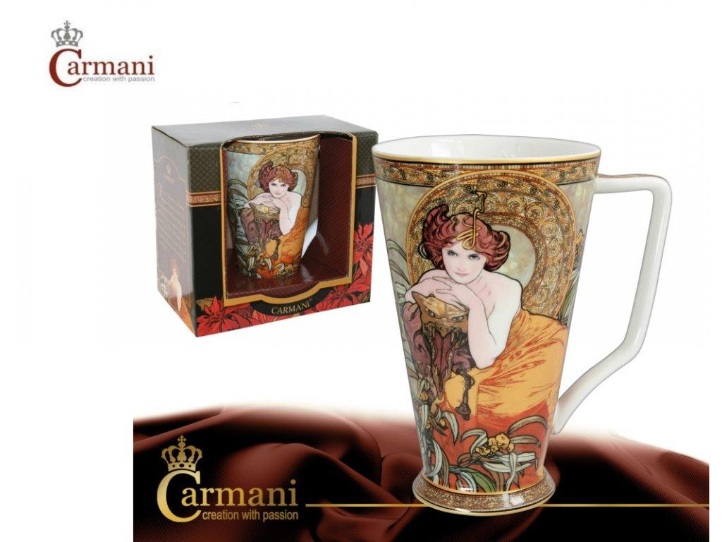 Carmani - Porcelánový hrnek Kayak II Alfons Mucha v dárkové krabičce - 450 ml