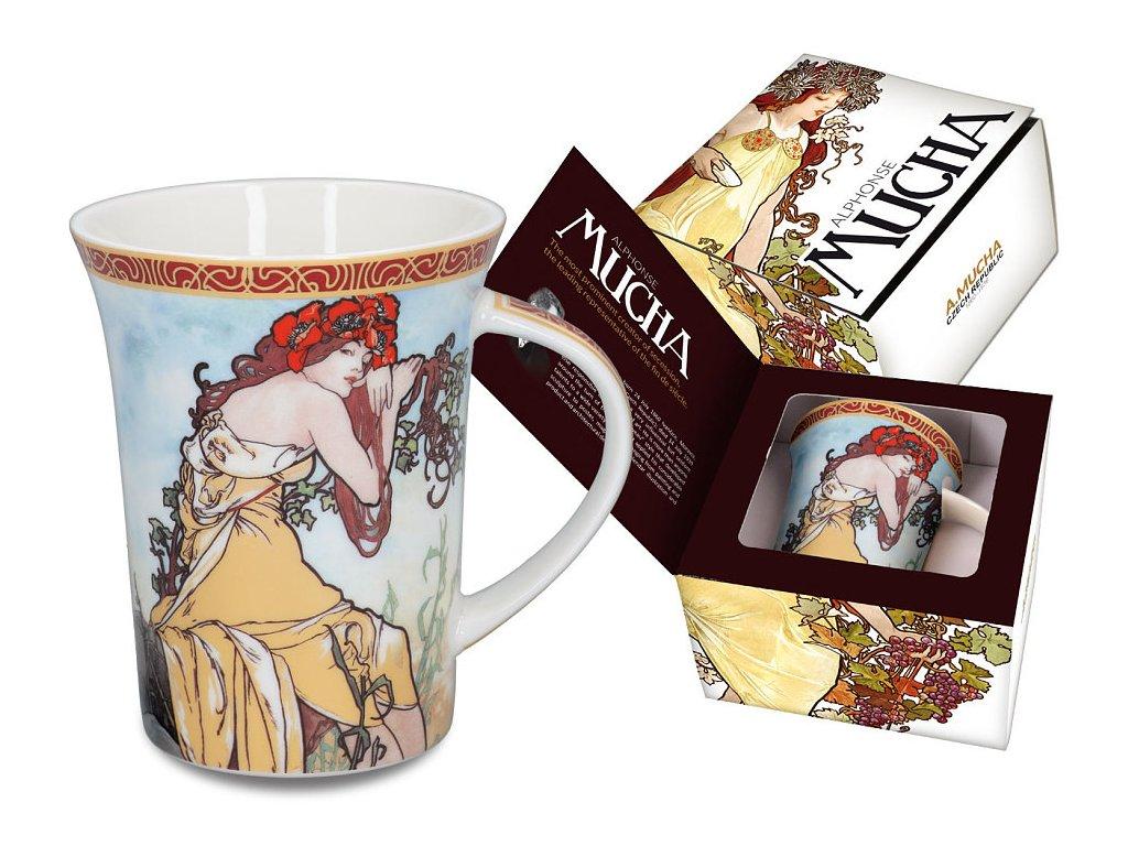 """Carmani - Porcelánový hrnek Alfons Mucha """"jaro"""" v dárkové krabičce - 400 ml"""
