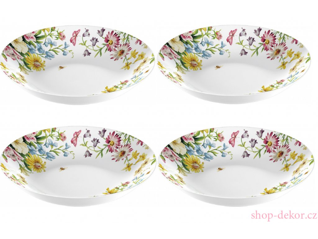 4 ks - Porcelánové talíře English Garden na těstoviny od Katie Alice - 4* /20,5*20,5*4,5 cm/