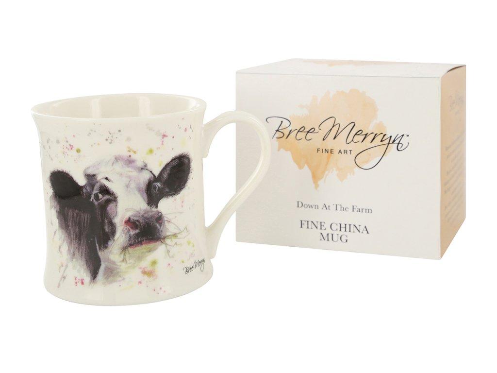 """E. LTD - Porcelánový hrníček """"Kráva s jetelem"""" v dárkové krabičce - 300 ml"""
