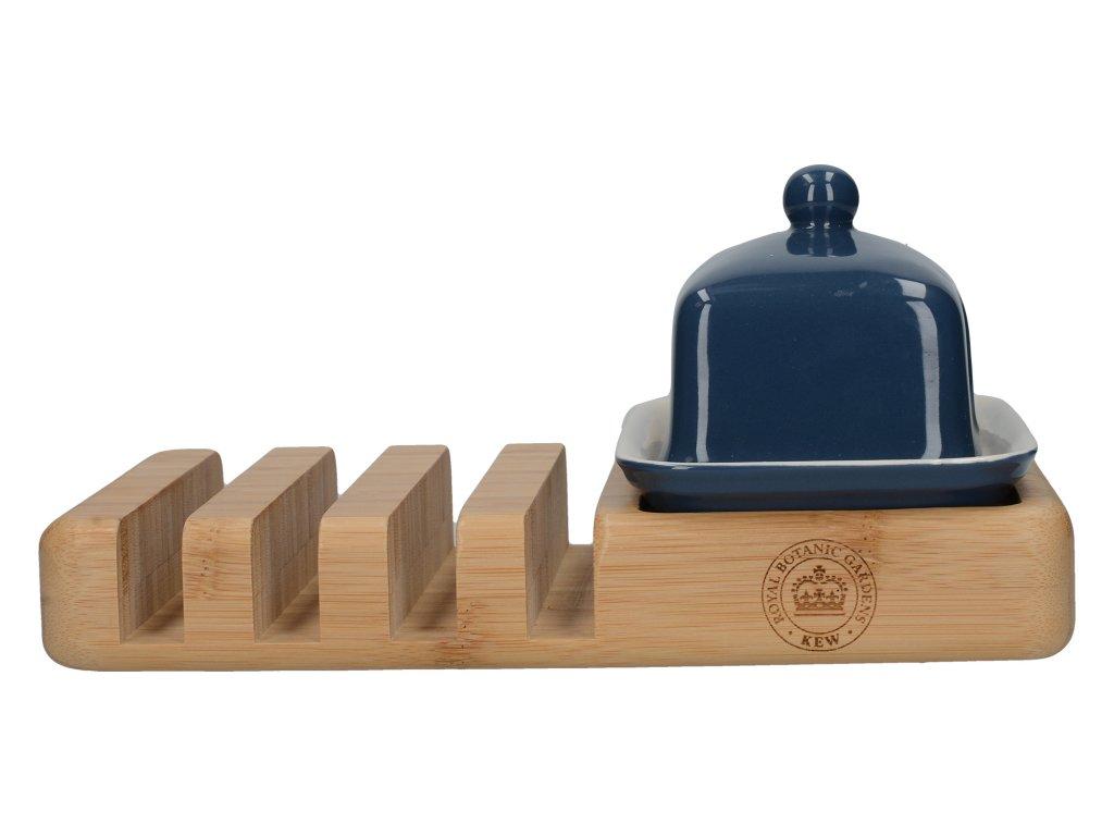 Creative Tops - Malá keramická dóza na máslo se stojánkem na tousty Richmond MODRÁ