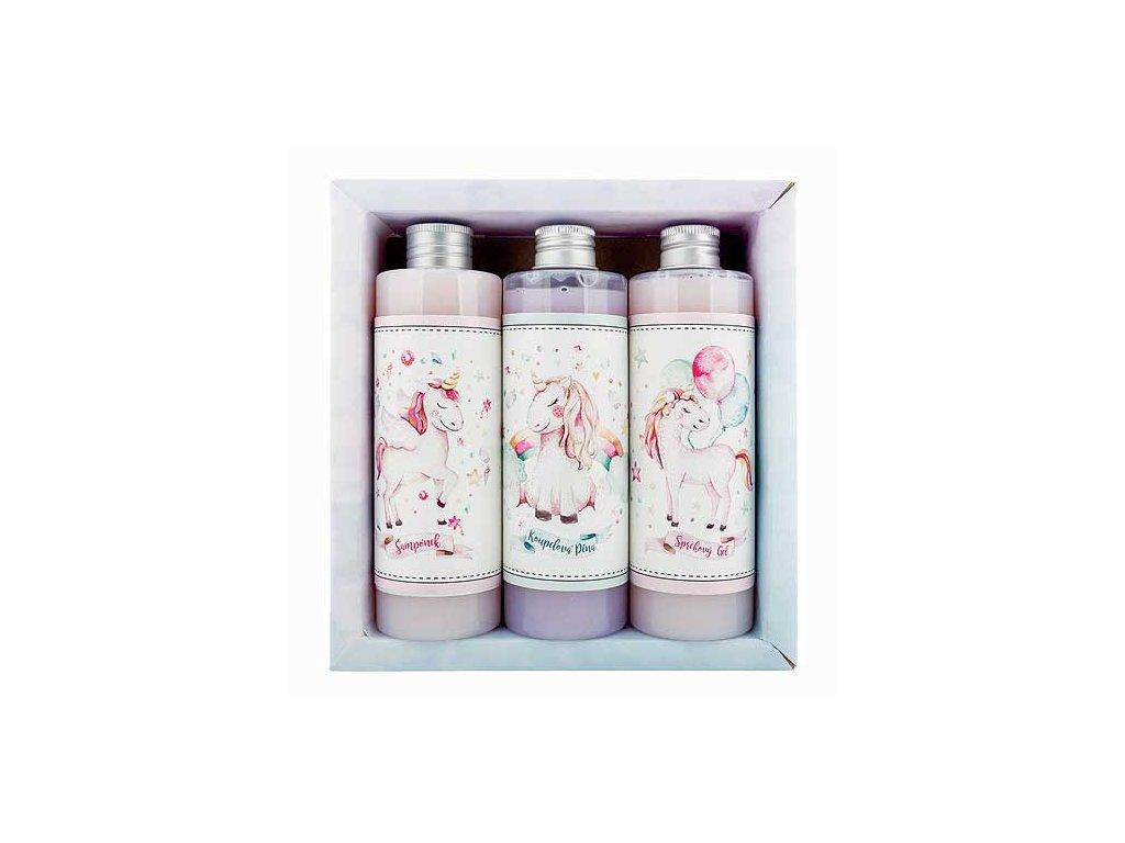 Bohemia Gifts Sada pro holky gel 250ml, šampon 250ml a pěna 250ml - jednorožec
