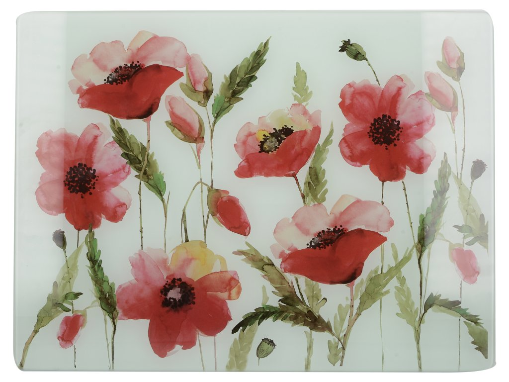 Creative Tops - Skleněné krájecí prkénko Watercolour Poppies /40*30 cm/