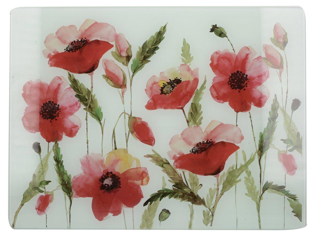 Skleněné krájecí prkénko Watercolour Poppies