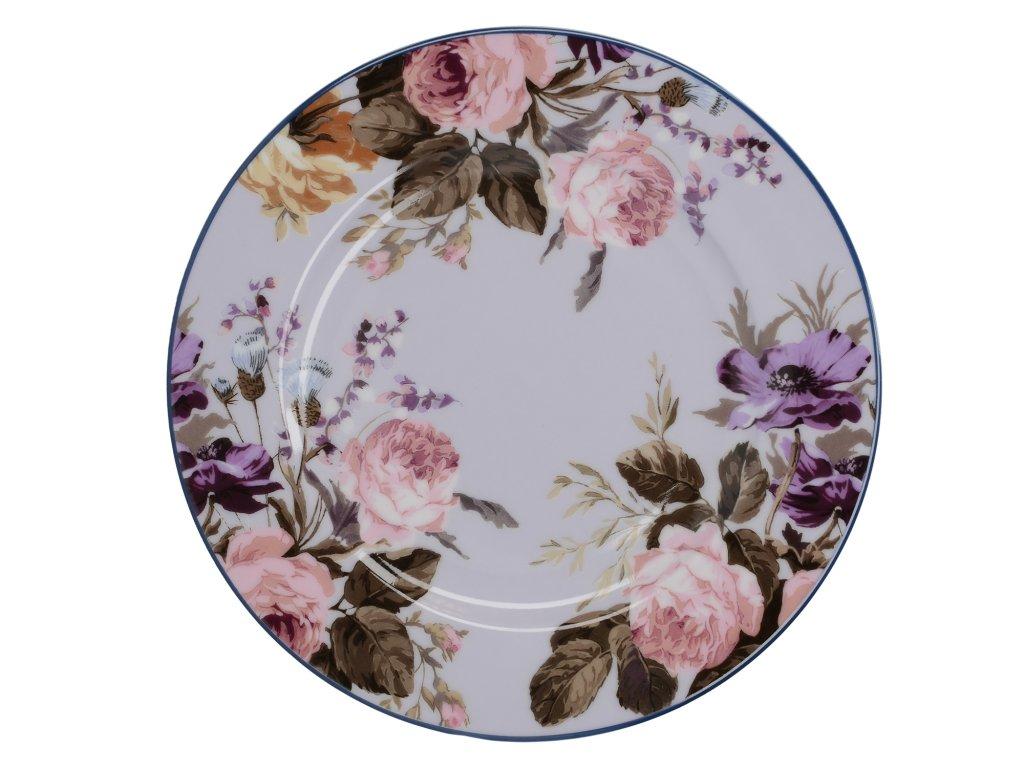 Creative Tops - Porcelánový dezertní talíř Wild Apricity šedý květinový /19*19 cm/