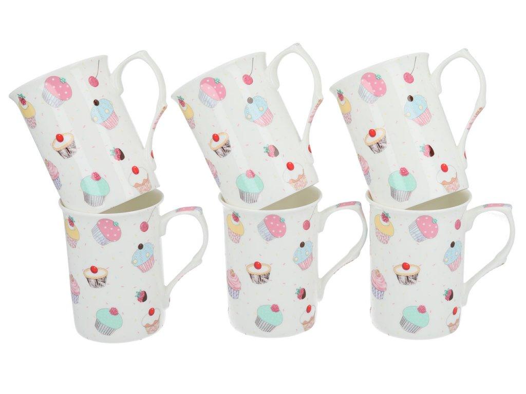 Porcelánová sada hrníčku v designu Cupcakes - 6*295 ml