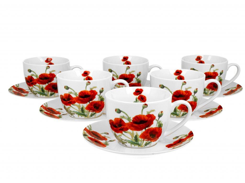 Sada Porcelánových šálků s podšálky, dekor Vlčí mák classic 6 ks 280 ml