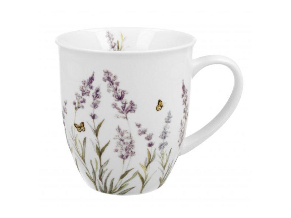Porcelánový hrnek, dekor Provence LEVANDULE v dárkové plechové dóze 400 ml.