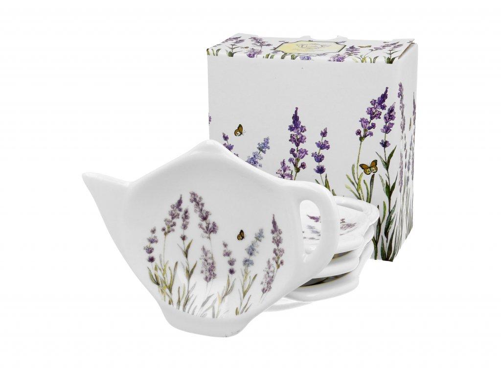 Sada porcelánových podčajníků, dekor Provence LEVANDULE 4 ks
