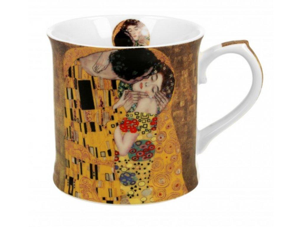 Porcelánový hrnek, dekor G. Klimt POLIBEK v dárkové krabičce 460 ml