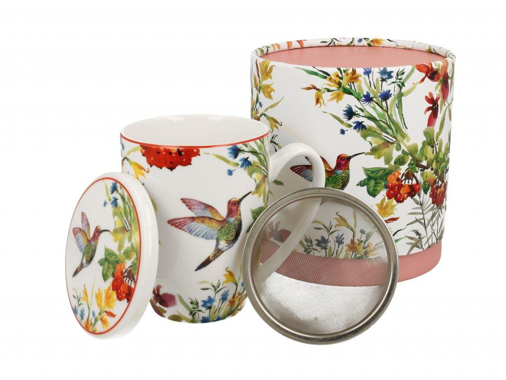 Porcelánové hrnek se sítkem a víčkem, dekor Linnea s ptáčkem v dárkové krabičce 420 ml