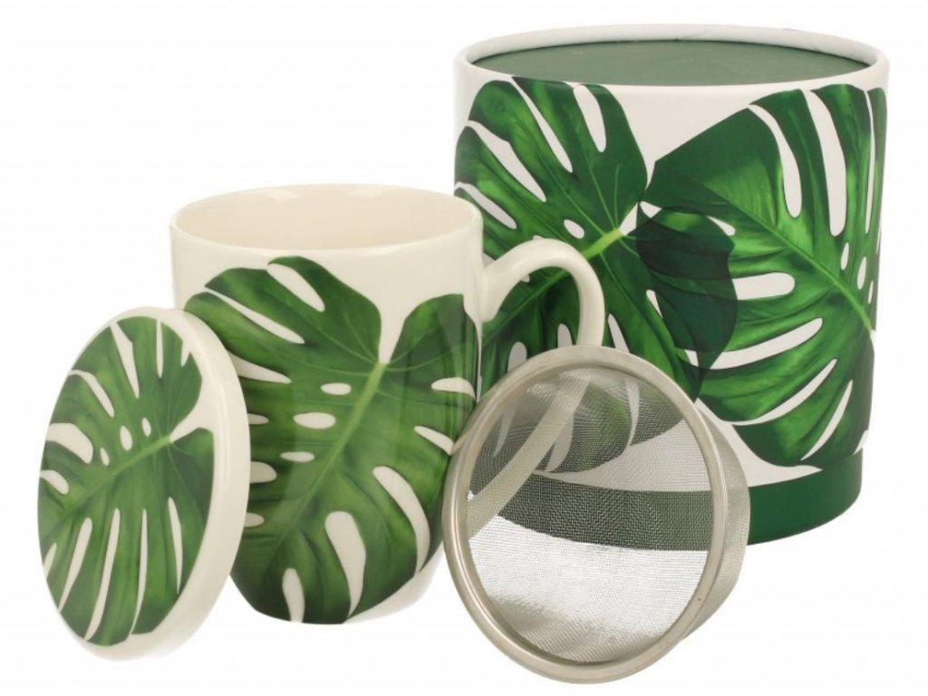 Porcelánový hrnek se sítkem a víčkem, dekor Monstera v dárkové krabičce 420 ml