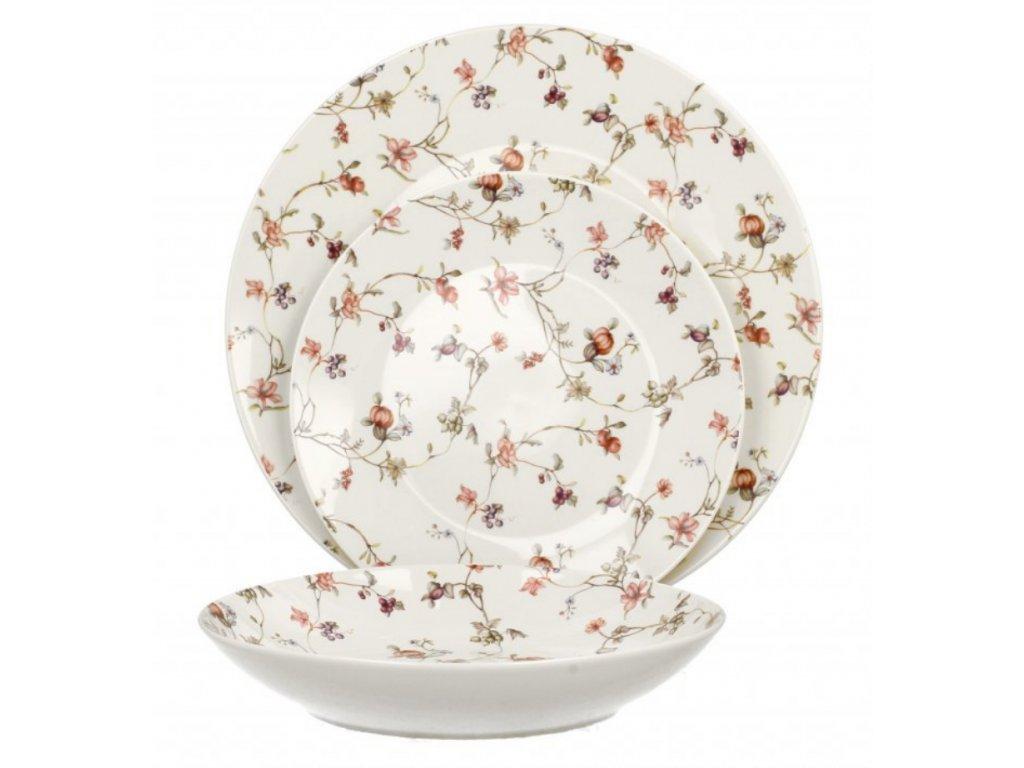 Porcelánová sada talířů, dekor Safa, 18 ks pro 6 osob..