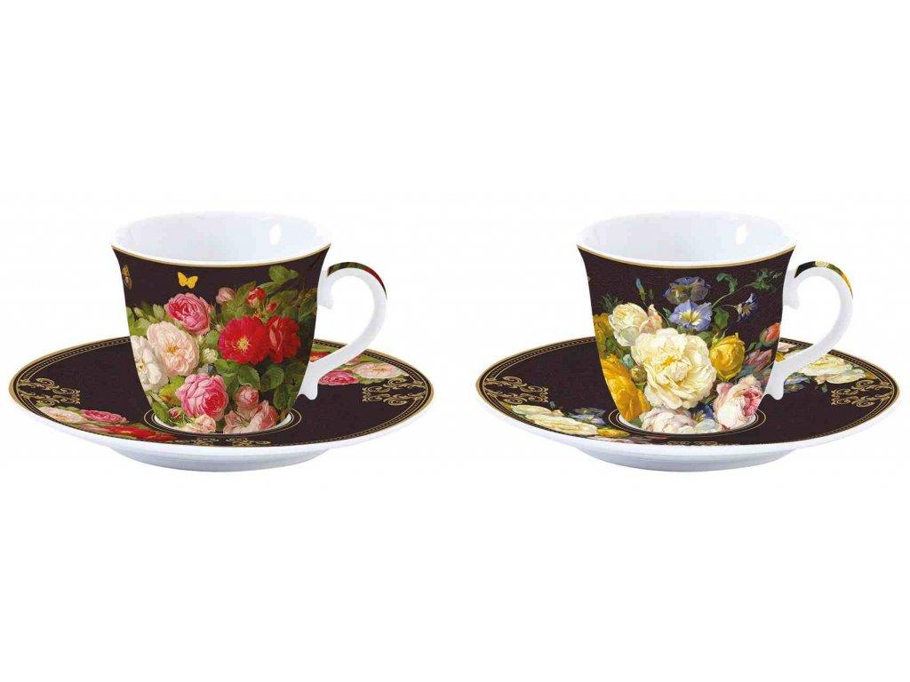 Porcelánové šálky a podšálky na espresso Victorian Garden v dárkové krabičce